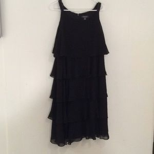 Dressbarn Black Chiffon Layered Dress